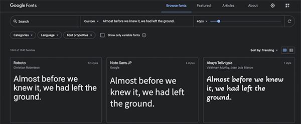Google Web font site